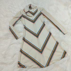 Vtg 70s A line cowl neck rainbow-striped dress